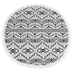 Serviette ronde motif ethnique avec franges