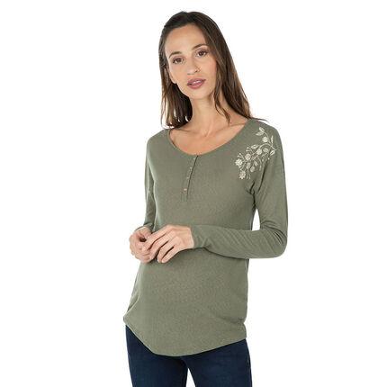 Tee-shirt manches longues de grossesse avec borderie florale