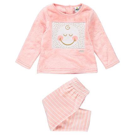 Pyjama en sherpa et velours avec Smiley patché et rayures contrastées