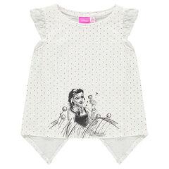 Tee-shirt manches courtes à pois print Disney Belle