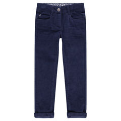 Pantalon en velours uni effet crinkle bleu marine