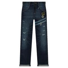 Junior - Jeans effet used avec bandes printées et broderies