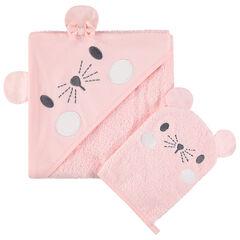Set de bain avec cape à capuche intégrée et gant motif souris