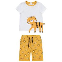 Ensemble pour bébé garçon avec t-shirt print tigre et bermuda imprimé , Orchestra