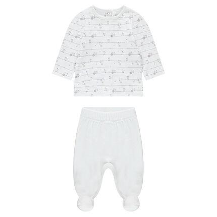 Pyjama avec haut en jersey imprimé et bas en velours uni