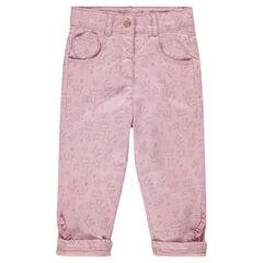 Pantalon en coton imprimé couronnes all-over avec finition volantée