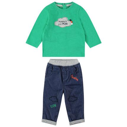 Ensemble avec tee-shirt manches longues vert et jeans à broderies