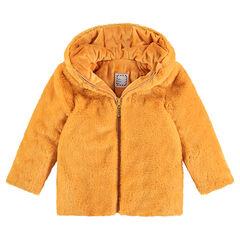 Manteau en fausse fourrure moutarde doublé sherpa