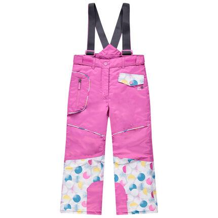 Pantalon de ski rose à bretelles amovibles et poches