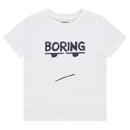 Tee-shirt manches courtes en jersey avec message printé et personnage