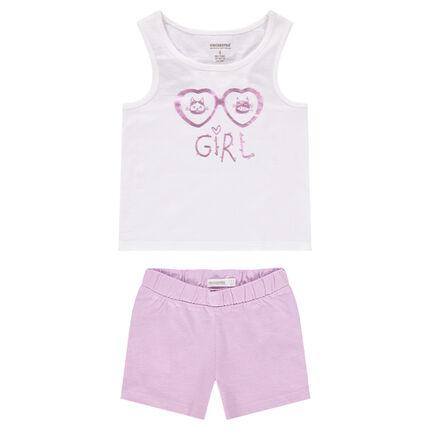Pyjama avec débardeur et short print lunettes