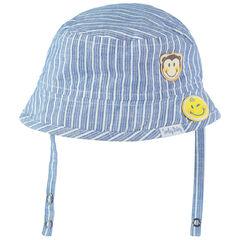 Bob en coton à rayures verticales et badges patchés Smiley
