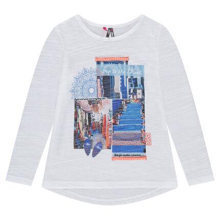 Tee-shirt manches longues en jersey slub avec paysages printés