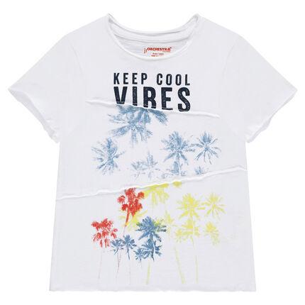 Tee-shirt manches courtes en jersey slub avec palmiers printés
