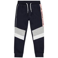 Pantalon de jogging en molleton à bandes contrastées