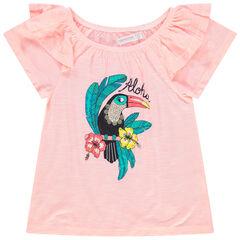 T-shirt à manches courtes volantées print toucan et sequins