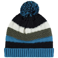 Bonnet en tricot doublé micropolaire à pompon