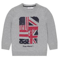Junior - Pull en tricot avec message printé