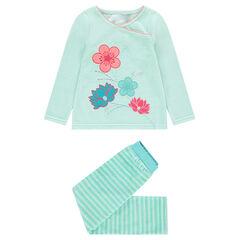 6ab221ab9da29 Pyjama en velours avec fleurs brodées et rayures