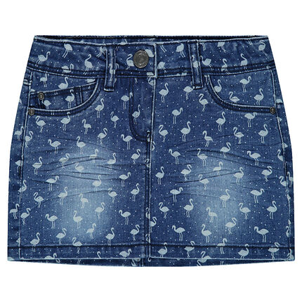 Jupe courte en denim avec flamants roses all-over