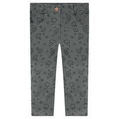 Pantalon en twill coupe slim avec nuages printés all-over