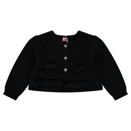 Gilet en tricot avec volants et boutons forme coeur