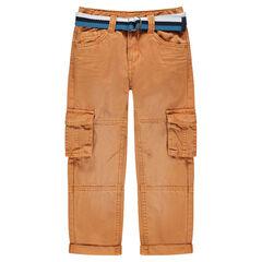 Pantalon cargo en twill surteint avec ceinture rayée