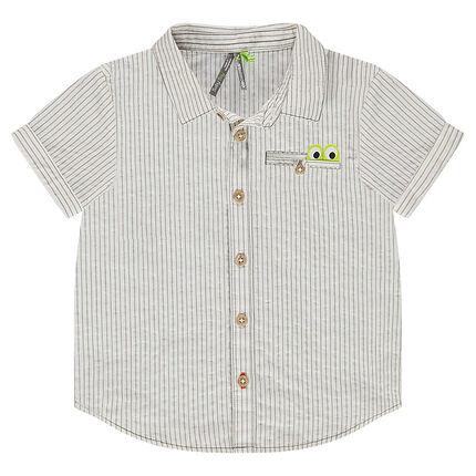 Chemise manches courtes à rayures fantaisie et poche avec empiècement crocodile
