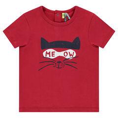 Tee-shirt manches courtes en jersey avec chat printé