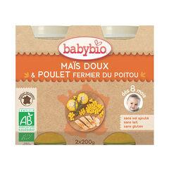 Petit pot maïs doux carotte et poulet fermier bio - 2x200g , Babybio