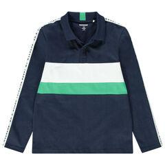 Junior - Polo manches longues en jersey avec bandes contrastées et inscriptions