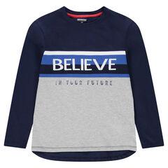Junior - Tee-shirt manches longues en jersey avec inscription en jacquard sur le devant