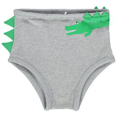 Slip en coton print crocodile à crête sur le côté