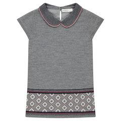 Robe manches courtes en tricot avec col fantaisie et motifs jacquard