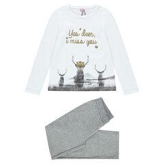 Junior - Pyjama long avec print cerfs fantaisie
