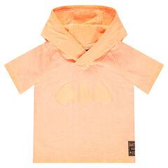 Tee-shirt manches courtes à capuche avec oreilles ©Warner Batman en relief