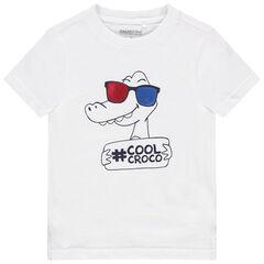 T-shirt manches courtes en coton à lunettes et message printé