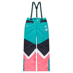 Junior - Pantalon de ski contrasté avec bretelles élastiquées amovibles