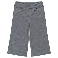 Pantalon large 7/8ème en jacquard chevrons