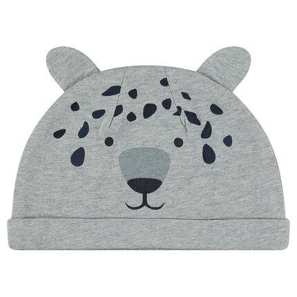 Bonnet en jersey avec oreilles cousues et détails tête de tigre printés