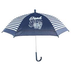 Parapluie avec rayures contrastées et motif fantaisie