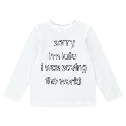 Tee-shirt manches longues en jersey avec message printé et adhésifs fantaisie