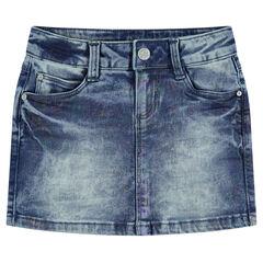 Jupe en jeans avec enduction effet arc-en-ciel