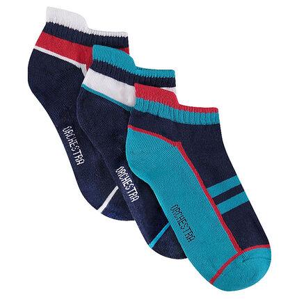 Lot de 3 paires de chaussettes courtes avec motif jacquard style sportswear