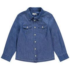 Chemise manches longues en jean à poches à rabat