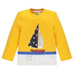 Tee-shirt manches longues en jersey slub print bateau