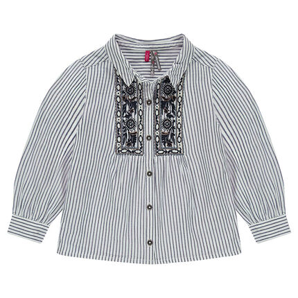 Chemise manches longues à fines rayures avec broderies placées