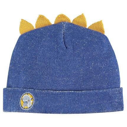 Bonnet en tricot avec crête et badge