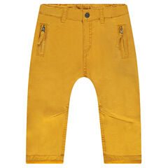 Pantalon en twill fitté doublé jersey avec poches zippées