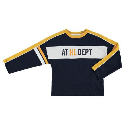 Junior - Tee-shirt manches longues forme boite avec bandes contrastées